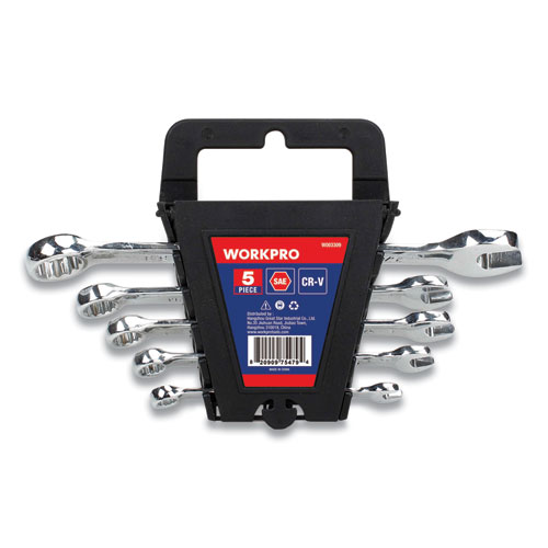 "Combination Box/Crescent Wrench Set, 1/4"" to 5/8"", Mirror-Polished Chrome-Vanadium Steel"
