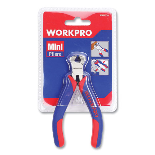 """Mini End-Cutting Pliers, 5"""" Long, Ni-Fe-Coated Drop-Forged Carbon Steel, Blue/Red Soft-Grip Handle"""
