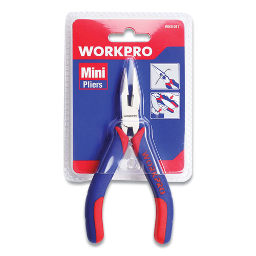 """Mini Long Nose Pliers, 5"""" Long, Ni-Fe-Coated Drop-Forged Carbon Steel, Blue/Red Soft-Grip Handle"""