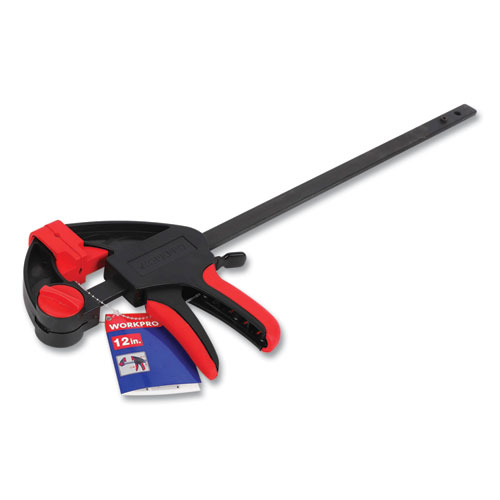 """Quick-Release Ratcheting Bar Clamp, 12"""" Capacity, Black/Red"""