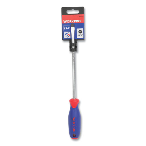 """Straight-Handle Cushion-Grip Screwdriver, 5/16"""" Slotted Tip, 8"""" Shaft"""