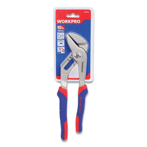 """Groove Joint Pliers, 10"""" Long, Ni-Fe-Coated Drop-Forged Carbon Steel, Blue/Red Soft-Grip Handle"""