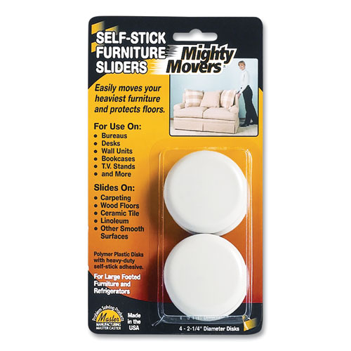 """Mighty Movers Self-Stick Furniture Sliders, Round, 2.25"""" Diameter, Beige, 4/Pack"""