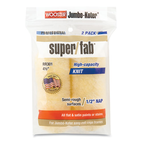 """Jumbo-Koter Professional Super/Fab Removable Roller, 4.5"""" Synthetic Knit Fabric, 0.75"""" Core, 0.5"""" Nap, Golden Yellow, 2/Pack"""