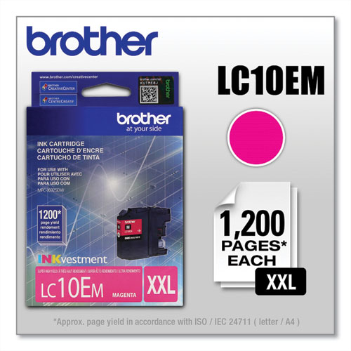 Brother LC10EM INKvestment Super High-Yield Ink, 1,200 Page-Yield, Magenta