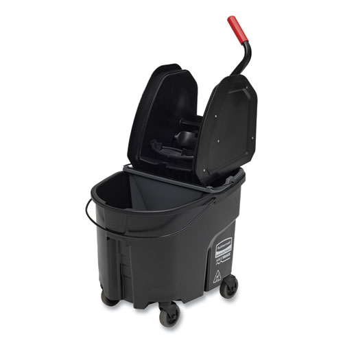 Rubbermaid® Commercial WaveBrake 2.0 Bucket/Wringer Combos, Down-Press, 35 qt, Plastic, Black