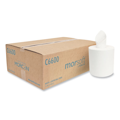 """Morcon Tissue Morsoft Center-Pull Roll Towels, 7.5"""" dia., White, 600 Sheets/Roll, 6 Rolls/Carton"""