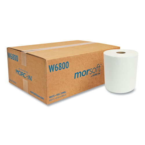 """Morcon Tissue Morsoft Universal Roll Towels, 8"""" x 800 ft, White, 6 Rolls/Carton"""