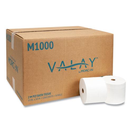 Morcon Tissue Small Core Bath Tissue, Septic Safe, 2-Ply, White, 1000 Sheets/Roll, 36 Roll/Carton