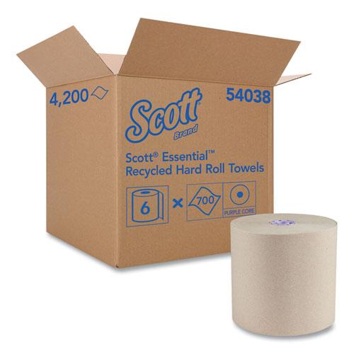 "Scott® Essential 100% Recycled Fiber Hard Roll Towel, 1.75"" Core, Brown, 8"" x 700 ft, 6/Carton"