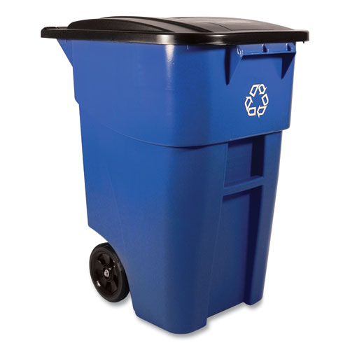 Rubbermaid® Commercial Brute Recycling Rollout Container, Square, 50 gal, Blue