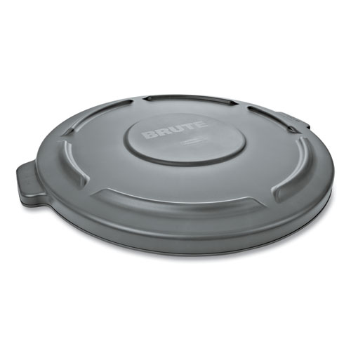 """Rubbermaid® Commercial Round Flat Top Lid, for 32 gal Round BRUTE Containers, 22.25"""" diameter, Gray"""