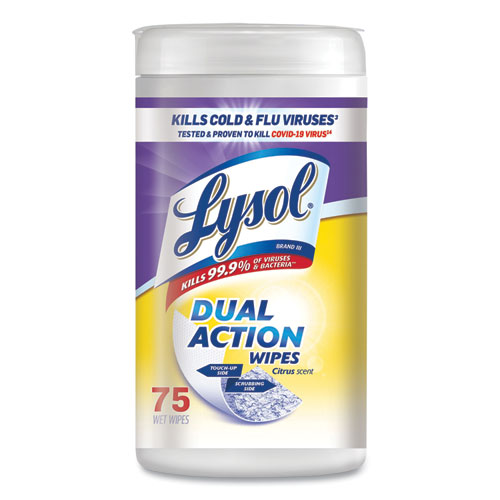 LYSOL® Brand Dual Action Disinfecting Wipes, Citrus, 7 x 7.5, 75/Canister, 6/Carton