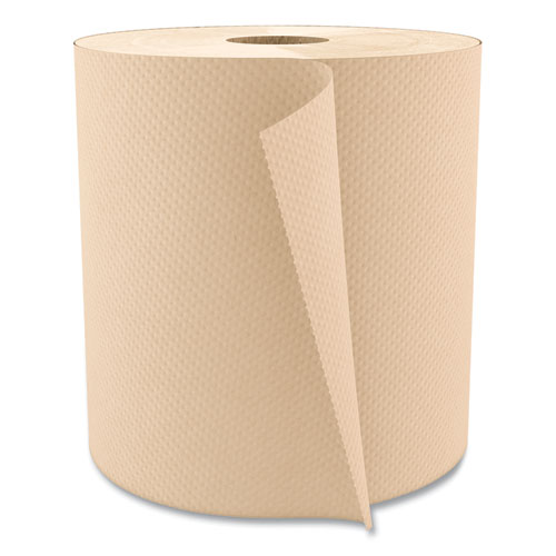 Boardwalk® Hardwound Paper Towels, Nonperforated 1-Ply Natural, 800 ft, 6 Rolls/Carton