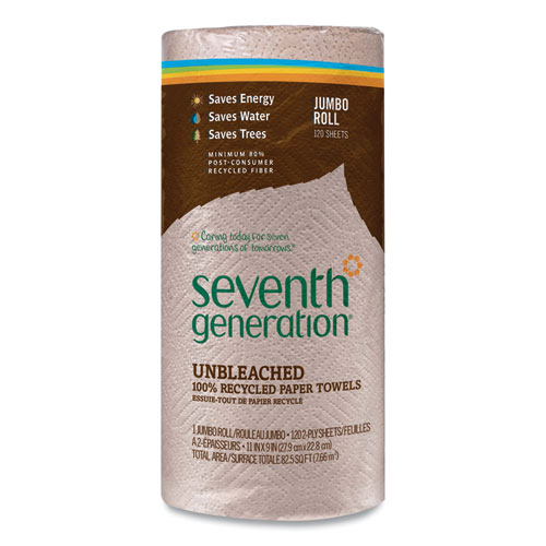 Seventh Generation® Natural Unbleached 100% Recycled Paper Kitchen Towel Rolls,11 x 9,120 Sheets/RL,30 RL/CT