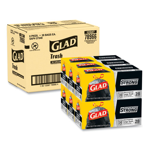 "Glad® Drawstring Large Trash Bags, 30 gal, 1.05 mil, 30"" x 33"", Black, 90/Carton"