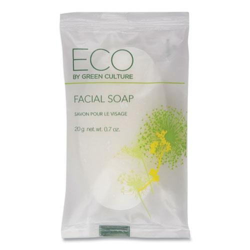 Eco By Green Culture Facial Soap Bar, Clean Scent, 0.71 oz Pack, 500/Carton