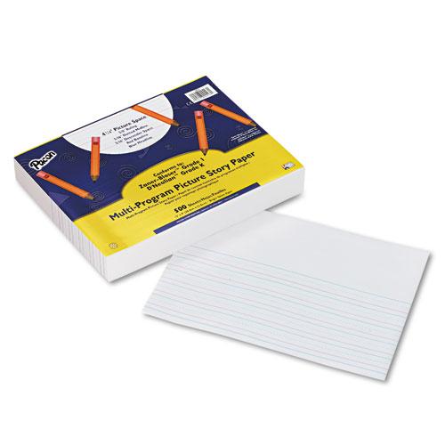 "Pacon® Multi-Program Picture Story Paper, 5/8"" Long Rule, 12 x 9, White, 500 Sheets/Pk"