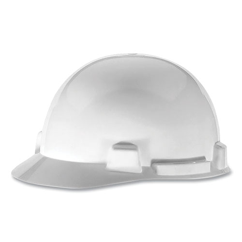 SmoothDome Slotted Cap Style Hard Hat, 4-Point Suspension, Size 6.5 to 8, White