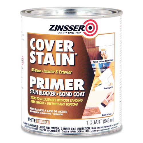High Hide Cover-Stain Primer, Interior/Exterior, Flat White, 1 qt Bucket/Pail