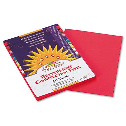 SunWorks® Construction Paper, 58 lbs., 12 x 18, Scarlet, 50 Sheets/Pack