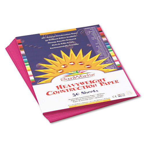 SunWorks® Construction Paper, 58 lbs., 9 x 12, Magenta, 50 Sheets/Pack