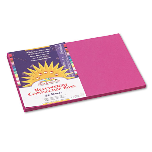SunWorks® Construction Paper, 58 lbs., 12 x 18, Magenta, 50 Sheets/Pack