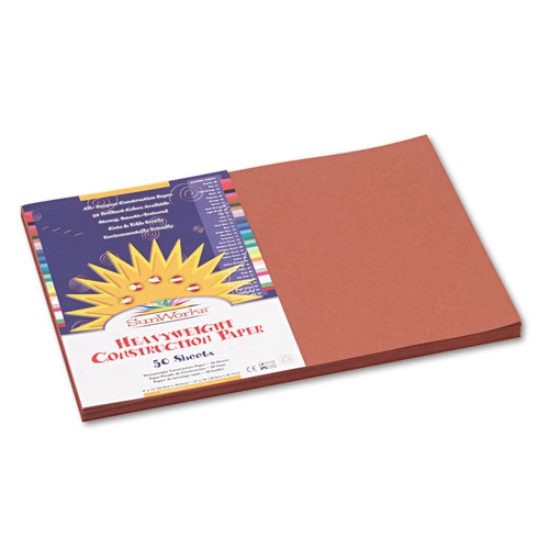 SunWorks® Construction Paper, 58 lbs., 12 x 18, Brown, 50 Sheets/Pack