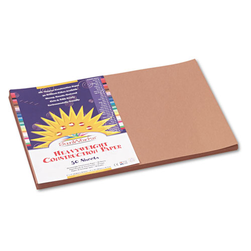 SunWorks® Construction Paper, 58 lbs., 12 x 18, Light Brown, 50 Sheets/Pack