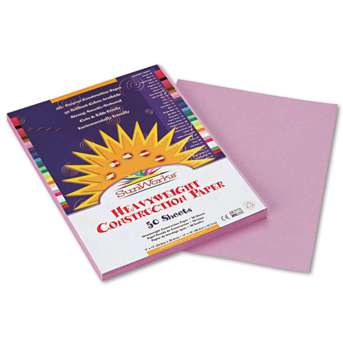 SunWorks® Construction Paper, 58 lbs., 9 x 12, Lilac, 50 Sheets/Pack