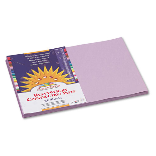 SunWorks® Construction Paper, 58 lbs., 12 x 18, Lilac, 50 Sheets/Pack