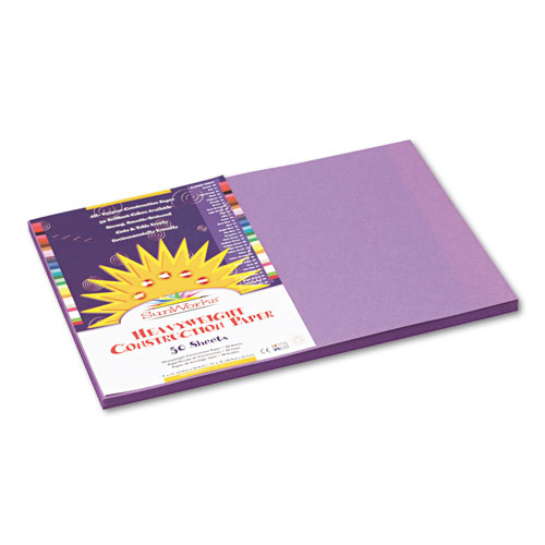 SunWorks® Construction Paper, 58 lbs., 12 x 18, Violet, 50 Sheets/Pack