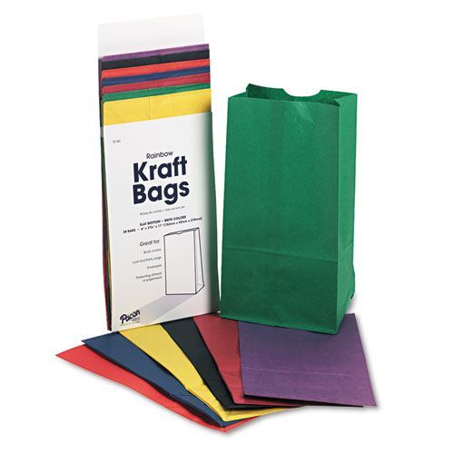Rainbow Bags, 6# Uncoated Kraft Paper, 6 x 3 5/8 x 11, Assorted Bright, 28/Pack 0072140