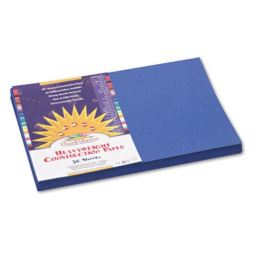 SunWorks® Construction Paper, 58 lbs., 12 x 18, Dark Blue, 50 Sheets/Pack