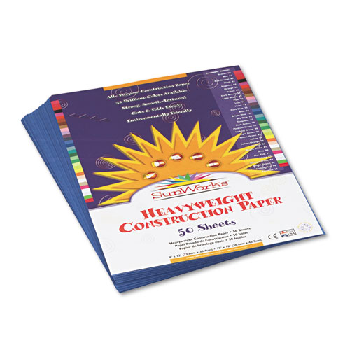 SunWorks® Construction Paper, 58 lbs., 9 x 12, Blue, 50 Sheets/Pack