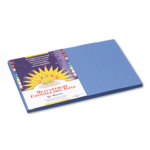 SunWorks® Construction Paper, 58 lbs., 12 x 18, Blue, 50 Sheets/Pack