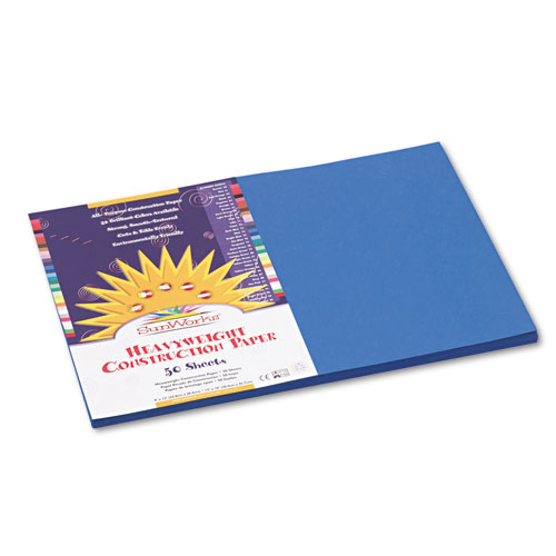 SunWorks® Construction Paper, 58 lbs., 12 x 18, Bright Blue, 50 Sheets/Pack