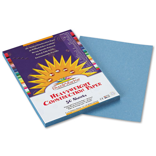 SunWorks® Construction Paper, 58 lbs., 9 x 12, Sky Blue, 50 Sheets/Pack