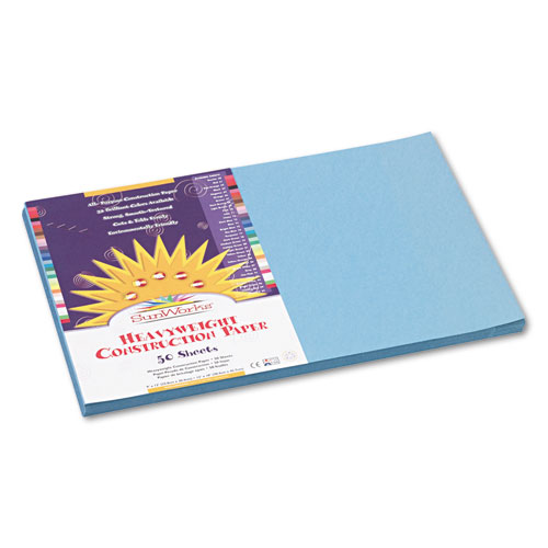 SunWorks® Construction Paper, 58 lbs., 12 x 18, Sky Blue, 50 Sheets/Pack