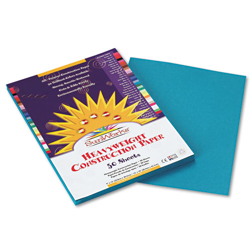 SunWorks® Construction Paper, 58 lbs., 9 x 12, Turquoise, 50 Sheets/Pack