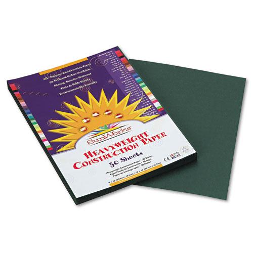 SunWorks® Construction Paper, 58 lbs., 9 x 12, Dark Green, 50 Sheets/Pack