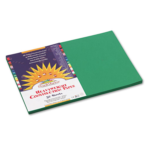 SunWorks® Construction Paper, 58 lbs., 12 x 18, Holiday Green, 50 Sheets/Pack