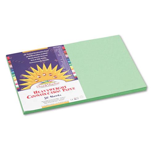 SunWorks® Construction Paper, 58 lbs., 12 x 18, Light Green, 50 Sheets/Pack