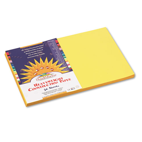 SunWorks® Construction Paper, 58 lbs., 12 x 18, Yellow, 50 Sheets/Pack