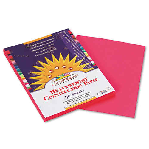SunWorks® Construction Paper, 58 lbs., 9 x 12, Hot Pink, 50 Sheets/Pack