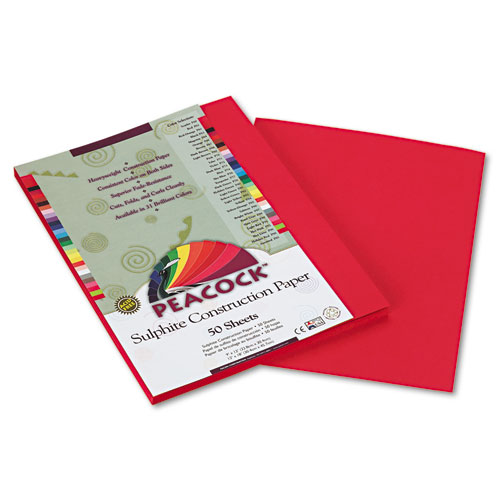Pacon® Peacock Sulphite Construction Paper, 76 lbs., 9 x 12, Red, 50 Sheets/Pack