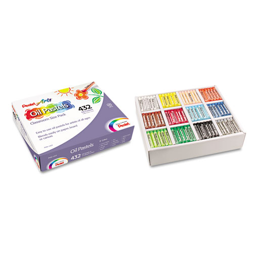 Oil Pastel Set With Carrying Case,12-Color Set, Assorted, 432/Pack PHN12CP