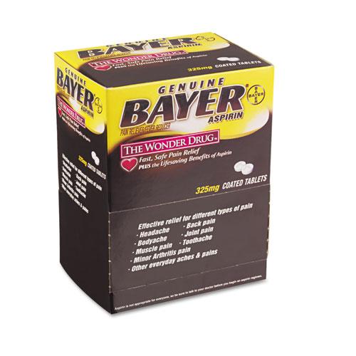 Bayer® Aspirin Tablets, Two-Pack, 50 Packs/Box
