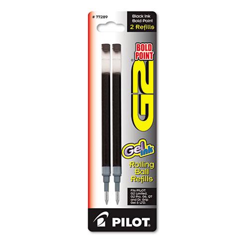 Refill for Pilot G2 Gel Ink Pens, Bold Point, Black Ink, 2/Pack