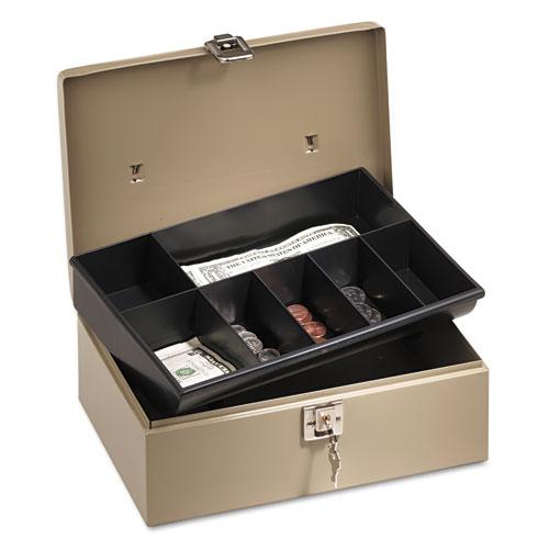 PM Company® SecurIT® Lock'n Latch Steel Cash Box w/7 Compartments, Key Lock, Pebble Beige